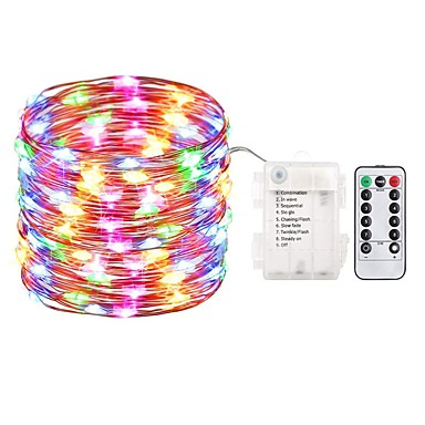 Zdm 5m 50 أضواء led الجنية أضواء بطارية تعمل سلسلة أضواء للماء 8 طرق الجنية سلسلة مع النائية و الموقت اليراع أضواء عيد الميلاد ديكور أضواء متعددة الألوان