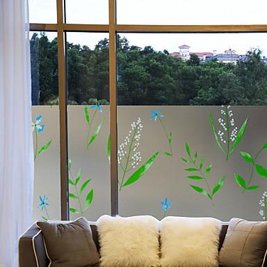 فيلم نافذة وملصقات زخرفة بسيط وردة PVC بدون لمعة / ملصق الباب