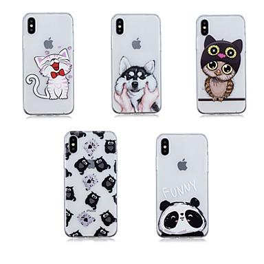 Недорогие Кейсы для iPhone-Кейс для Назначение Apple iPhone X / iPhone 8 Pluss / iPhone 8 Прозрачный Кейс на заднюю панель Животное Мягкий ТПУ
