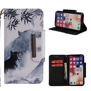 غطاء من أجل Apple iPhone X / iPhone 8 Plus / iPhone 8 محفظة / حامل البطاقات / مع حامل غطاء كامل للجسم حيوان قاسي جلد PU
