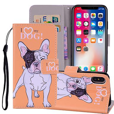 Недорогие Кейсы для iPhone 6-Кейс для Назначение Apple iPhone X / iPhone 8 Pluss / iPhone 8 Кошелек / Бумажник для карт / со стендом Чехол С собакой / Слон Твердый Кожа PU