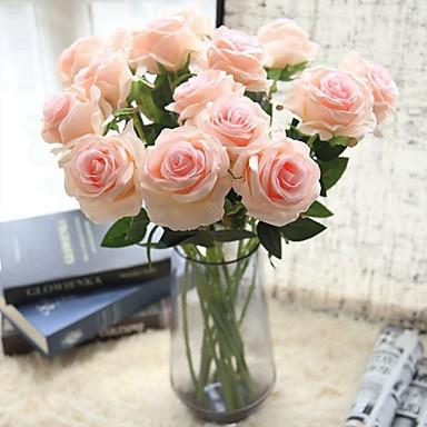 Flores artificiais 5 Ramo Clássico Solteiro (L150 cm x C200 cm) Estiloso buquês de Noiva Rosas Flor de Mesa