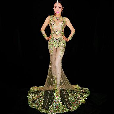 cheap Activewear-Exotic Dancewear Rhinestone Bodysuit / Club Costume Women's Performance Spandex Glitter / Crystals / Rhinestones Long Sleeve Dress