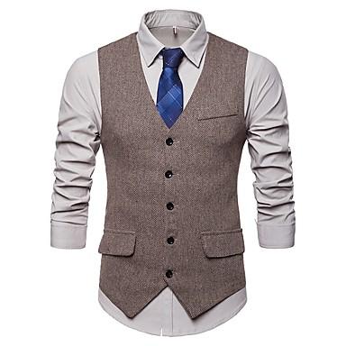 رخيصةأون سترات و بدلات الرجال-كتان رجالي أسود رمادي كاكي L XL XXL Vest رياضي Active / أساسي منقط V رقبة نحيل / بدون كم