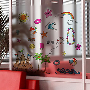 فيلم نافذة وملصقات زخرفة بسيط شخصية PVC ملصق النافذة