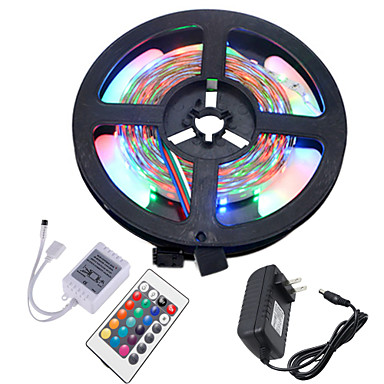 HKV 5M Flexibele LED-verlichtingsstrips / RGB-verlichtingsstrips 300 LEDs 3528 SMD RGB Knipbaar / Koppelbaar / Zelfklevend 12 V 1pc