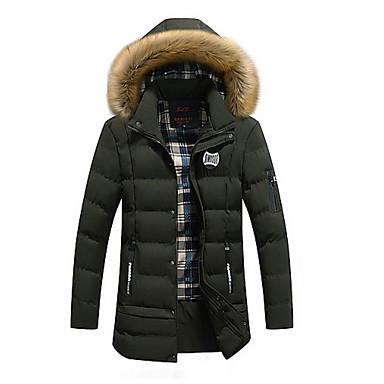 XL / XXL / XXXL أسود / أزرق البحرية / أخضر داكن الشتاء مع قبعة قطن / بوليستر, Parka سترة طويلة قياس أساسي ستاندرد كم طويل لون سادة أساسي مناسب للبس اليومي رجالي