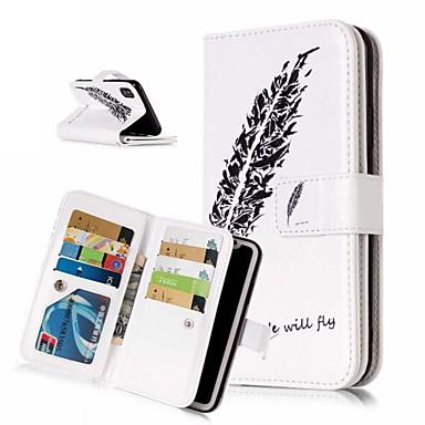 Недорогие Кейсы для iPhone X-Кейс для Назначение Apple iPhone XS / iPhone XR / iPhone XS Max Кошелек / Бумажник для карт / со стендом Чехол Перья Твердый Кожа PU