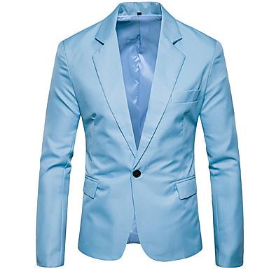 Muškarci Party Posao Normalne dužine Sako, Jednobojni Kragna košulje Dugih rukava Poliester Vojska Green / Žutomrk / Navy Plava XL / XXL / XXXL / Poslovno formalno / Slim