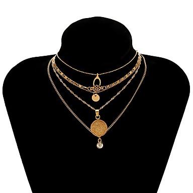 نسائي قلائد الحلي القلائد الطبقات متعدد الطبقات قديم سيدات عرقي موضة سبيكة ذهبي 28 cm قلادة مجوهرات 1PC من أجل شارع مهرجان