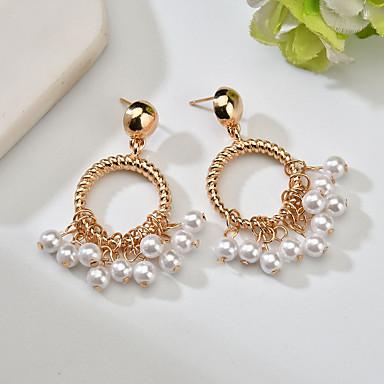 Žene Viseće naušnice Retro dame Klasik Vintage Elegantno Imitacija bisera Naušnice Jewelry Zlato Za Svečanost Večer stranka 1 par