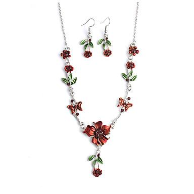 Žene Sintetički dijamant Viseće naušnice Ogrlice s privjeskom Svadbeni nakit Setovi Sa stilom Skulptura Leaf Shape Flower Shape dame Sweet Lolita Romantični slatko Austrijski kristal Naušnice Jewelry