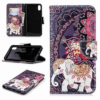Недорогие Кейсы для iPhone X-Кейс для Назначение Apple iPhone XS / iPhone XR / iPhone XS Max Кошелек / Бумажник для карт / со стендом Чехол Животное / Слон Твердый Кожа PU