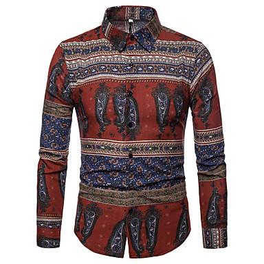 Majica Muškarci - Osnovni Dnevno / Klub Lan Geometrijski oblici / Etno Print Red / Dugih rukava