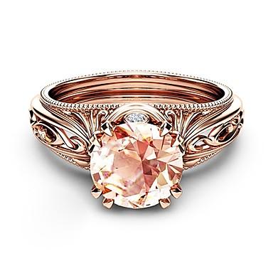 Žene Prsten Citrin 1pc Rose Gold Kamen Pozlata od crvenog zlata Imitacija dijamanta Četiri drška dame Korejski Moda Noć se i posebna prigoda Spoj Jewelry Latica Lijep