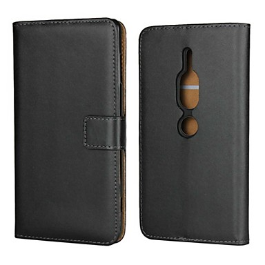 Недорогие Чехлы и кейсы для Sony-Кейс для Назначение Sony Sony Xperia XZ2 Premium / Xperia XZ2 Compact / Xperia XZ2 Кошелек / Бумажник для карт / со стендом Чехол Однотонный Твердый Настоящая кожа