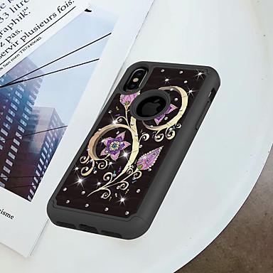 غطاء من أجل Apple iPhone X / إفون 8 ضد الصدمات / حجر كريم / نموذج غطاء خلفي زهور قاسي الكمبيوتر الشخصي إلى iPhone X / iPhone 8 Plus / iPhone 8