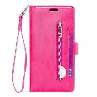 Недорогие Чехлы и кейсы для Galaxy Note-Кейс для Назначение SSamsung Galaxy Note 9 Кошелек / Бумажник для карт / со стендом Чехол Однотонный Твердый Кожа PU