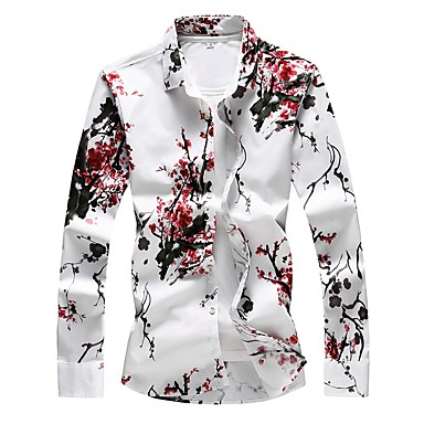 billige Herremote-Tynd Herre - Blomstret Bomuld, Trykt mønster Basale Plusstørrelser Skjorte Rød / Langærmet