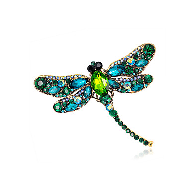 abade7148ca Women's Brooches Vintage Style Dragonfly Animal Ladies Unique Design Vintage  Color Rhinestone Gold Plated Brooch Jewelry Light Green Champagne Dark  Green ...