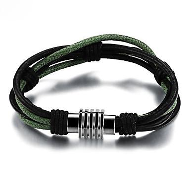 Muškarci Zamotajte Narukvice razboj narukvice U obliku pletenice S magnetom Jedinstven dizajn pomodan Paracord Narukvica Nakit Crn Za Ulica / Titanium Steel
