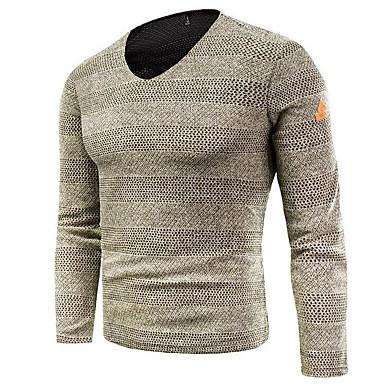 Muškarci Izlasci Jednobojni Dugih rukava Regularna Pullover Džemper od džempera, V izrez Crn / Sive boje / Žutomrk M / L / XL