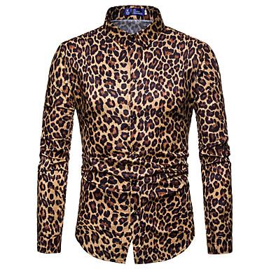 رخيصةأون قمصان رجالي-رجالي نادي قميص, جلد نمر ياقة مفرودة / كم طويل / الربيع / الخريف