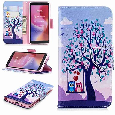 Недорогие Чехлы и кейсы для Xiaomi-Кейс для Назначение Xiaomi Xiaomi Redmi Note 5 Pro / Redmi 6A / Redmi 6 Кошелек / Бумажник для карт / со стендом Чехол Сова Твердый Кожа PU