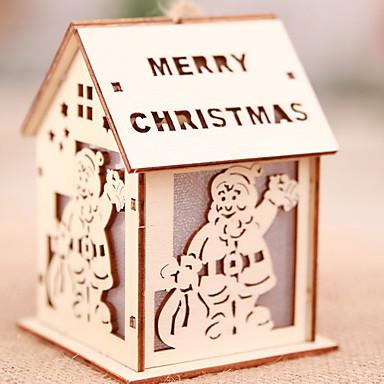 أضواء ديكور عيد الميلاد المجيد خشبي شكل منزل حداثة زينة عيد الميلاد