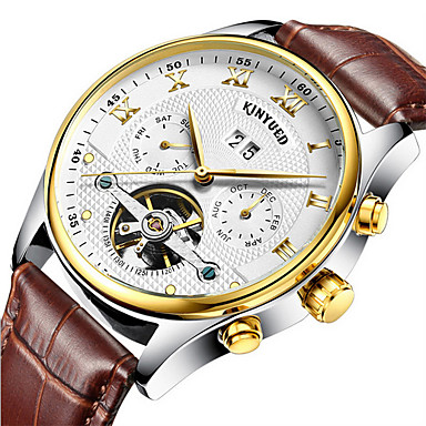cheap Leather band Watches-KINYUED Men's Skeleton Watch Wrist Watch Mechanical Watch Automatic self-winding Roman Numeral Luxury Water Resistant / Waterproof Analog black / gold Brown / Gold White / Leather / Chronograph