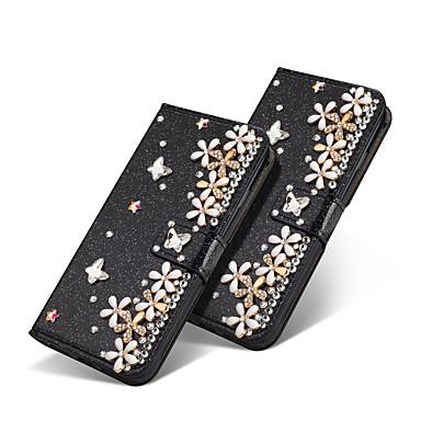 Недорогие Чехлы и кейсы для Galaxy Note-Кейс для Назначение SSamsung Galaxy Note 9 / Note 8 Кошелек / Бумажник для карт / Стразы Чехол Сияние и блеск / Стразы / Цветы Твердый Кожа PU