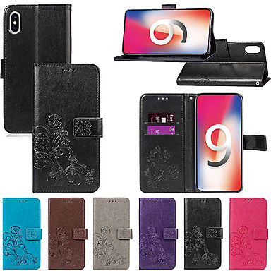 Недорогие Кейсы для iPhone X-Кейс для Назначение Apple iPhone XS / iPhone XR / iPhone XS Max Кошелек / Бумажник для карт / со стендом Чехол Однотонный / Мандала / Бабочка Твердый Кожа PU