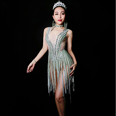 cheap Activewear-Exotic Dancewear Rhinestone Bodysuit / Club Costume Women's Performance Spandex Glitter / Tassel / Crystals / Rhinestones Sleeveless Leotard / Onesie