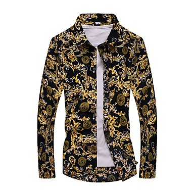 e0929e6c9f Hombre Vintage   Activo Tallas Grandes Estampado Camisa Geométrico Amarillo  XXXXL   Manga Larga 6940421 2019 – €16.31