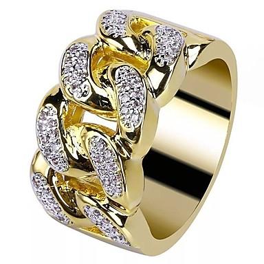 رجالي خاتم مكعب زركونيا 1PC ذهبي مطلية بالذهب عيار 18 نحاس حجر الراين دائري أنيق أوروبي شائع زفاف حفلة تنكرية مجوهرات ستايل خلاق كوول