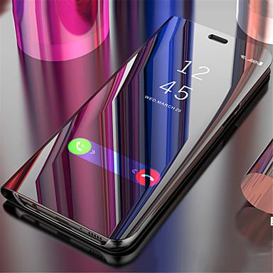 رخيصةأون أغطية أيفون-غطاء من أجل Apple iPhone X / iPhone 8 Plus / iPhone 8 مرآة / قلب / النوم / الإيقاظ التلقائي غطاء كامل للجسم لون سادة قاسي الكمبيوتر الشخصي