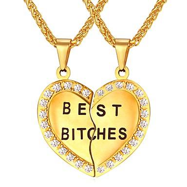 Muškarci Ogrlice s privjeskom Geometrijski Ime Graviranog Srce Odnos Romantični Moda Tikovina Zlato Pink 55 cm Ogrlice Jewelry 1 par Za Dar Dnevno