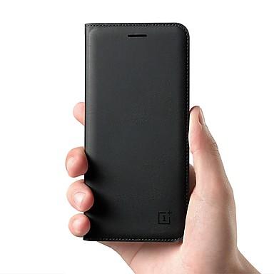 Недорогие Чехлы / чехлы для Oneplus-Кейс для Назначение OnePlus OnePlus 6 / One Plus 5 / OnePlus 5T Бумажник для карт / Флип Чехол Однотонный Твердый Настоящая кожа