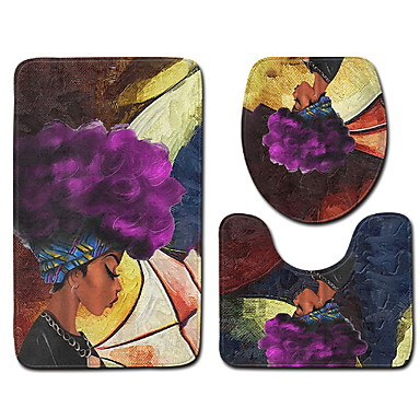 3 Piese Modern Preș de Baie 100g / m2 Poliester Tricot Stretch Print Floral neregulat Model nou / Creative