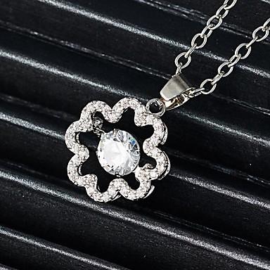 Žene Dijamant Kubični Zirconia mali dijamant Charm Necklace Cvijet Flower Shape dame Jedinstven dizajn Renesansa Umjetno drago kamenje Legura Zlato Pink 45+5 cm Ogrlice Jewelry 1pc Za Praznik Kamado