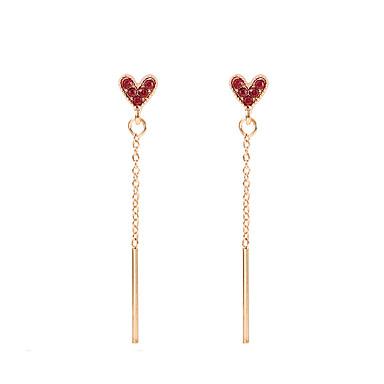 Žene Viseće naušnice Long fantazija Srce dame Korejski slatko Slatka Style Umjetno drago kamenje Naušnice Jewelry Zlato Za Party Kauzalni 1 par