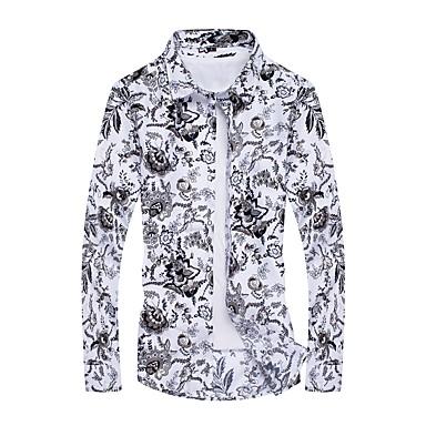رخيصةأون قمصان رجالي-رجالي رياضي Active طباعة قياس كبير قميص, هندسي / كم طويل