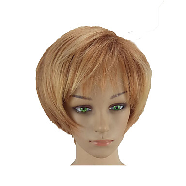 Sintetičke perike Ravan kroj Pixie frizura Perika Plavuša Kratko Plavuša Sintentička kosa 10 inch Žene Nježno Otporan na toplinu sintetički Plavuša hairjoy