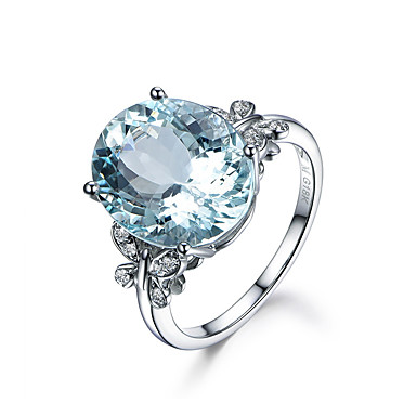 نسائي الزبرجد الإصطناعي كومة البيضاوي متصنع خاتم مطلية بالذهب عيار 18 الدلو خاتم كوكتيل سيدات رومانسي أحجار الولادة خواتم مجوهرات أزرق فاتح من أجل