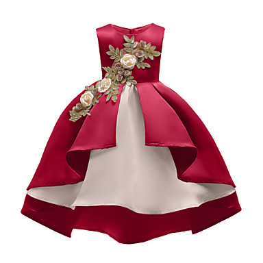 cheap Christmas-Kids Girls' Vintage Active Christmas Party Holiday Floral Solid Colored Christmas Ruched Mesh Sleeveless Asymmetrical Dress Wine
