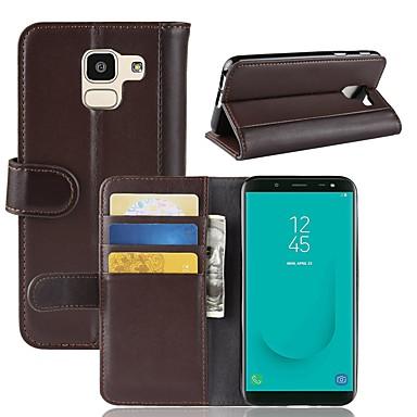 غطاء من أجل Samsung Galaxy J8 (2018) / J7 Duo / J7 (2017) محفظة / حامل البطاقات / قلب غطاء كامل للجسم لون سادة قاسي جلد أصلي