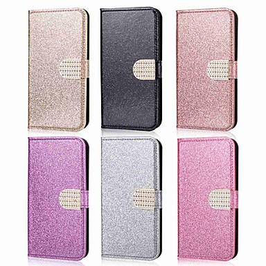 Недорогие Чехлы и кейсы для Galaxy Note-Кейс для Назначение SSamsung Galaxy Note 9 / Note 8 Кошелек / Бумажник для карт / Стразы Чехол Однотонный / Сияние и блеск / Стразы Твердый Кожа PU