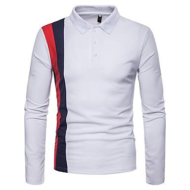 رجالي بولو ستايل, ألوان متناوبة قبعة القميص / كم طويل