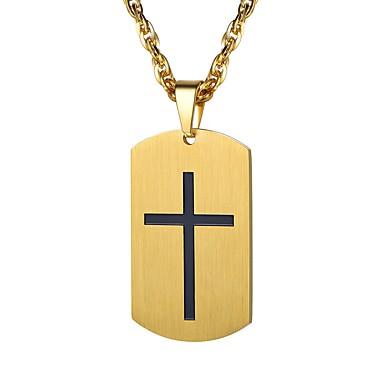 رجالي قلائد الحلي ستايل صليب موضة الفولاذ المقاوم للصدأ ذهبي فضي 55 cm قلادة مجوهرات 1PC من أجل هدية مناسب للبس اليومي