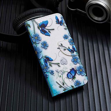 رخيصةأون حافظات / جرابات هواتف جالكسي J-غطاء من أجل Samsung Galaxy J8 / J7 (2017) / J6 محفظة / حامل البطاقات / مع حامل غطاء كامل للجسم فراشة قاسي جلد PU